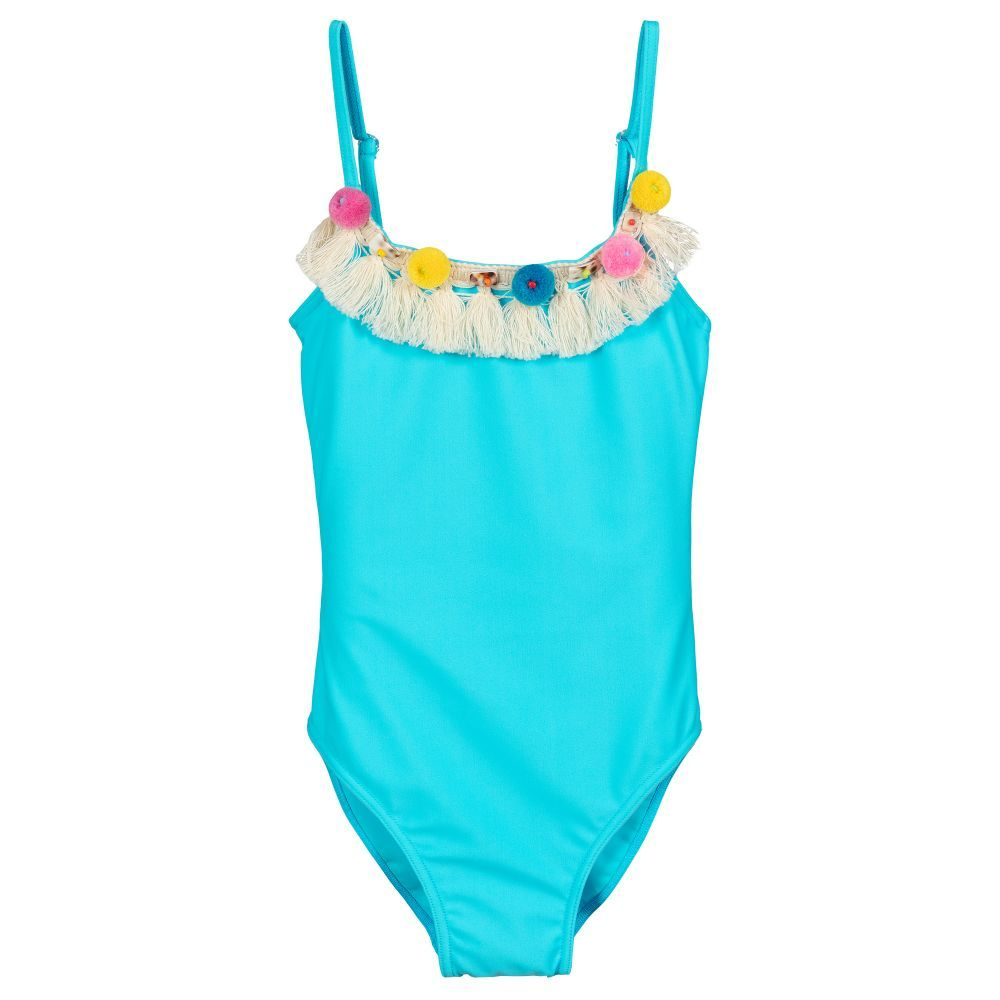 d1962719b2f21 Girls turquoise blue swimsuit by Selini Action. It is made in soft and  stretchy fabric