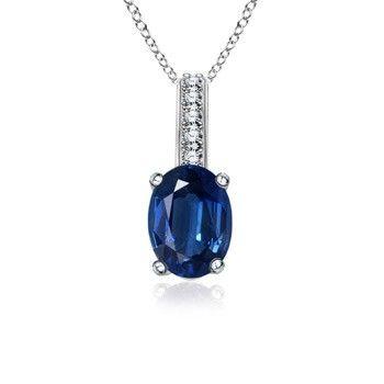Angara Floating Blue Sapphire Tulip Pendant with Diamonds 7U1m7dY