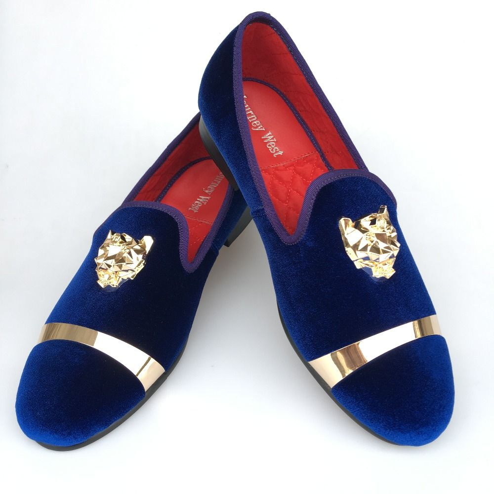 2c3864284ea New Handmade Men Gold Buckle Loafers Slippers Shoes Men Blue Velvet Shoes  with Red Bottom Party and Wedding Slip on Men t Flats