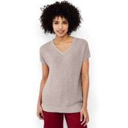 Photo of Combed Cotton Short Sleeve Sweater – Beige – 36-38 by Lands 'End Lands' End