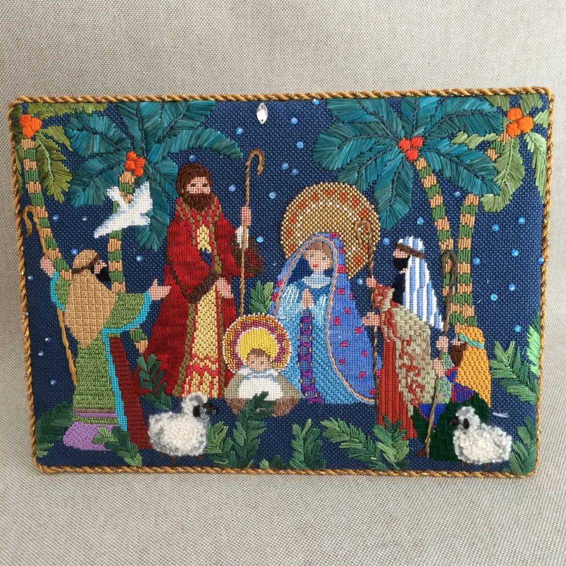 Nativity scene easel back, designer unknown   Needlework ...