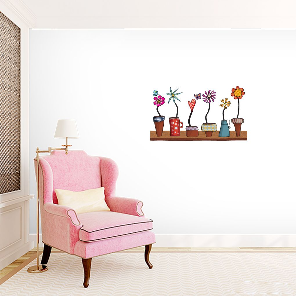 Flower Pots Shelf Printed Wall Decals, Stickers