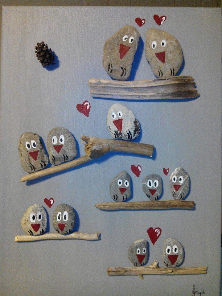 tableau chouettes en galets et bois flott acm paques pinterest pebble art caillou and rock. Black Bedroom Furniture Sets. Home Design Ideas
