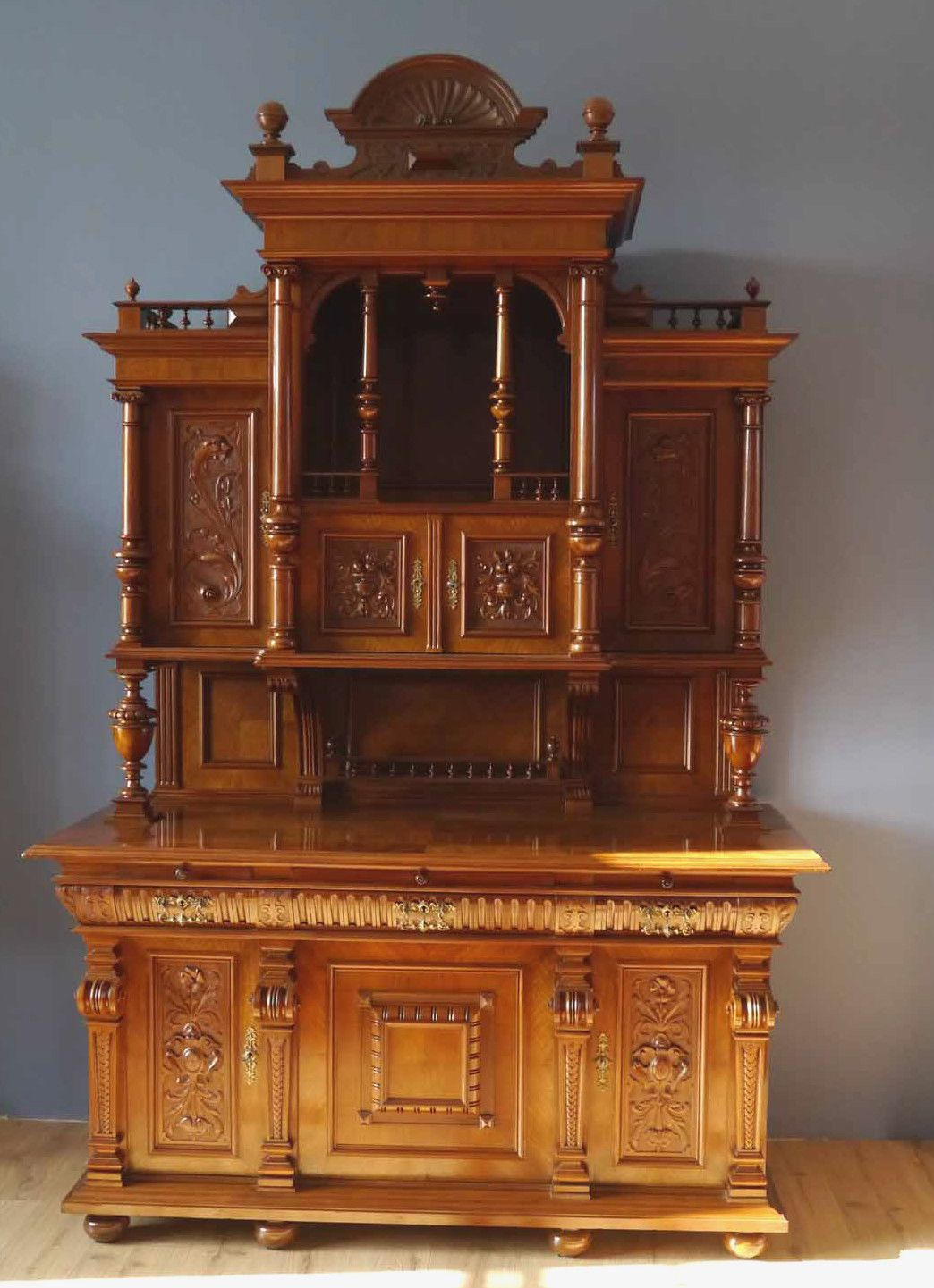 Deutsches gr nderzeit buffet nussbaum restauriert um 1880 in antiquit ten kunst mobiliar - Antike mobel restaurieren ...