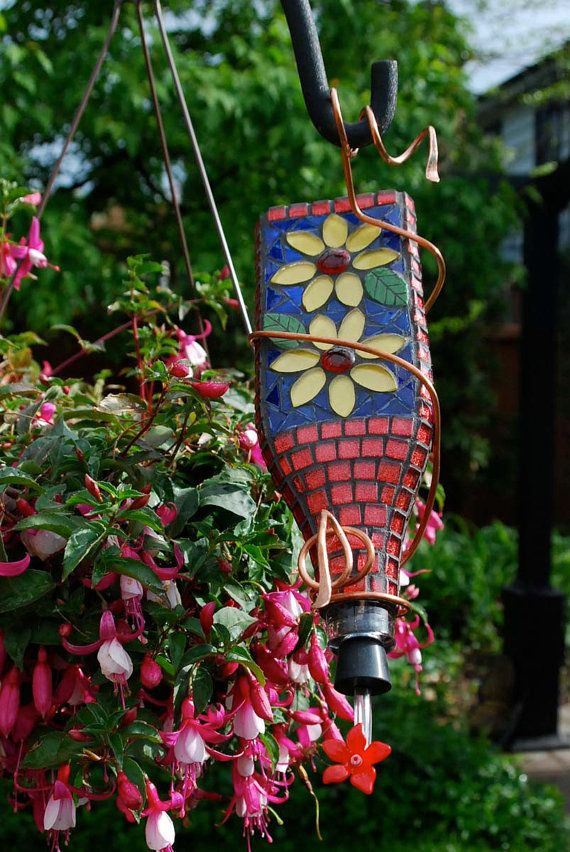 Hummingbird Feeder Stained Glass Mosaic Yellow Flowers