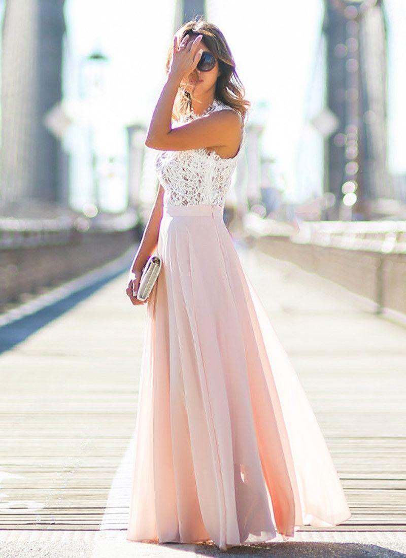 Summer Chiffon Long Dress, elegant formal sleeveless US 2 ...