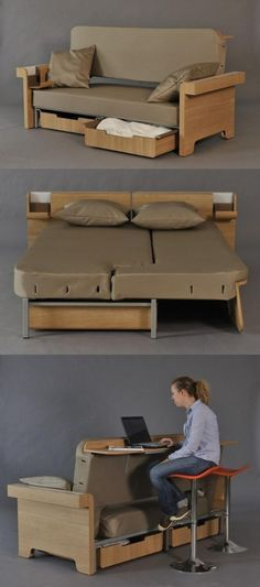 The creative sofa also can be used as double bed! Awesome for a