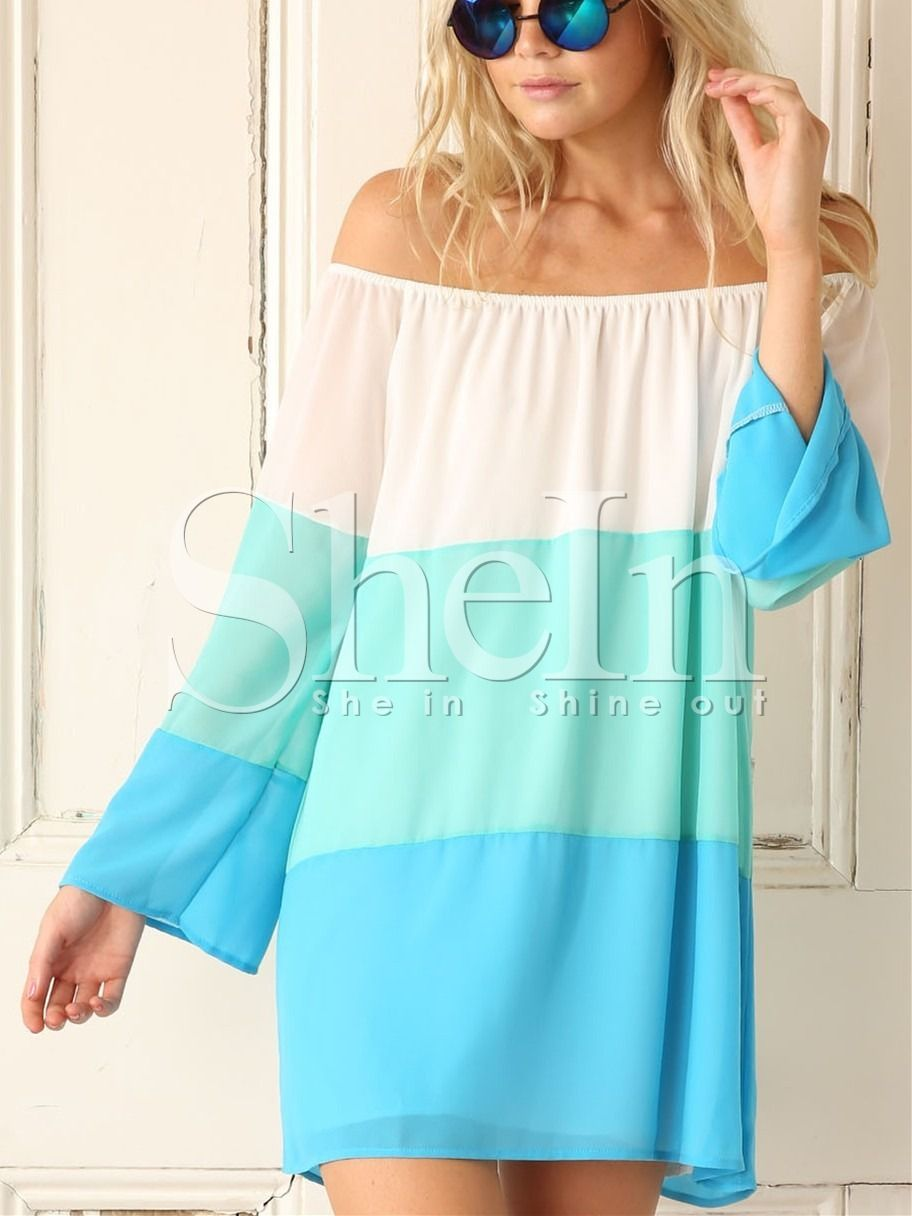 White Blue Off The Shoulder Color Block Dress -SheIn(Sheinside) - I'd wear this as a top with white pants or as a beach cover up.