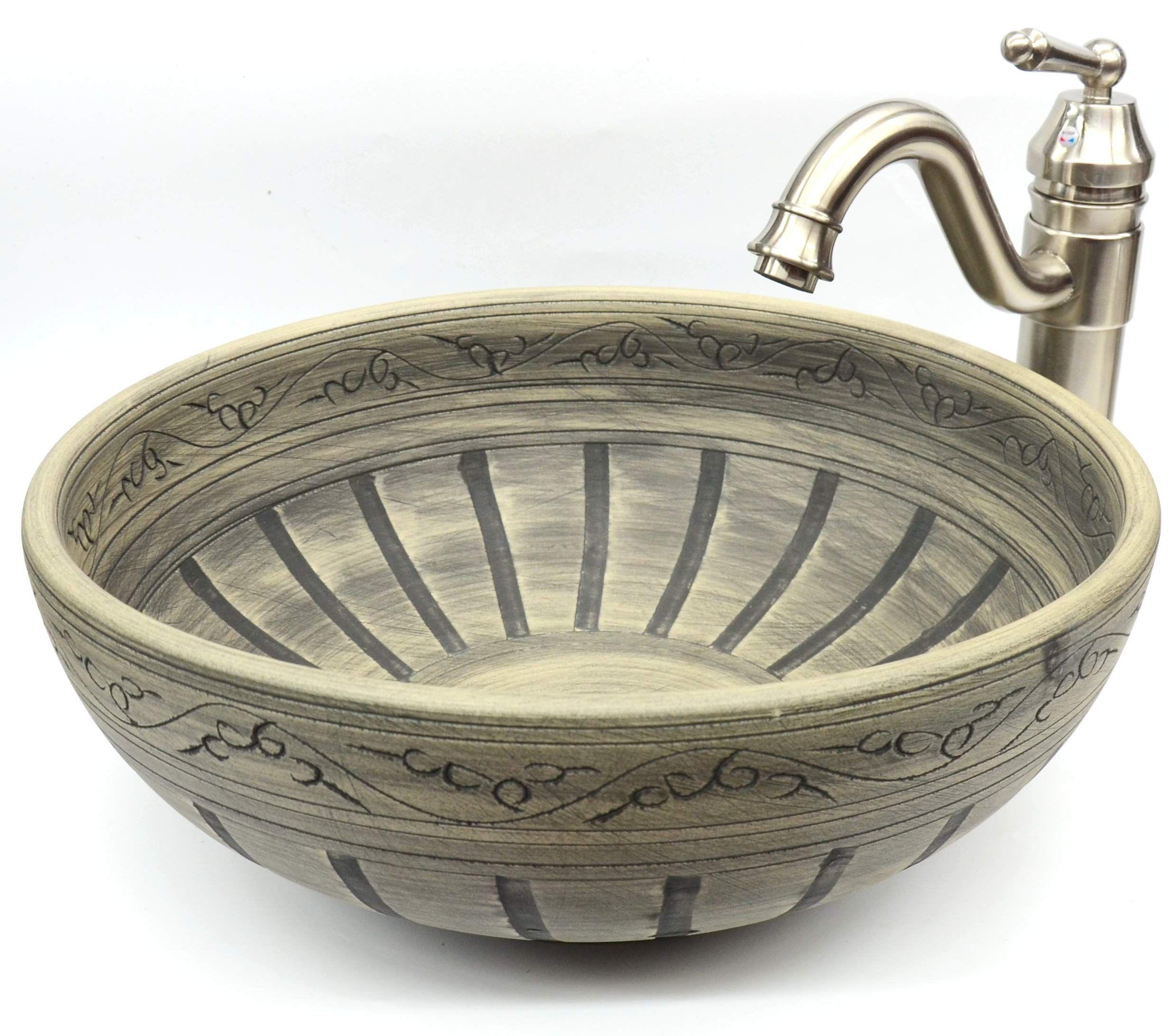 Waschbecken Vintage Stil Gemustert Handgefertigt Rund Keramik Kasbah Waschbecken Waschschussel Amazon De Baumar Waschbecken Vintage Stil Waschschussel
