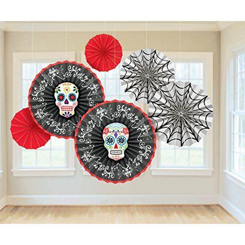 Day of the Dead Paper Fan Decorations 6ct Amscan   wwwamazon - halloween scene setters decorations