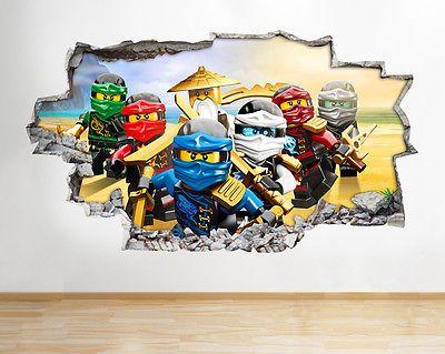 H986 lego ninjago toys tv kids smashed wall decal 3d art for Kinderzimmer ninjago