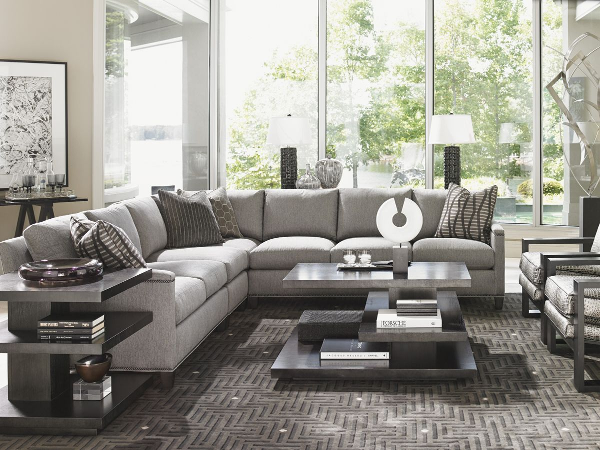 Terrific Grey Sectional With Modern Accent Tables Lexington Theyellowbook Wood Chair Design Ideas Theyellowbookinfo