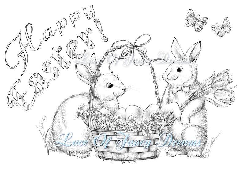 Happy Easter Coloring Page Pdf Cute Easter Bunny Coloring Sheet