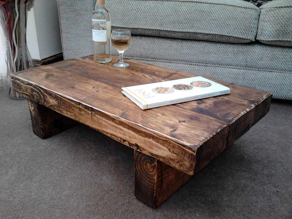 Chunky Solid Wood Coffee Table Hand Made 90 X 45 X 30 Cm Ebay With Images Solid Wood Coffee Table Coffee Table