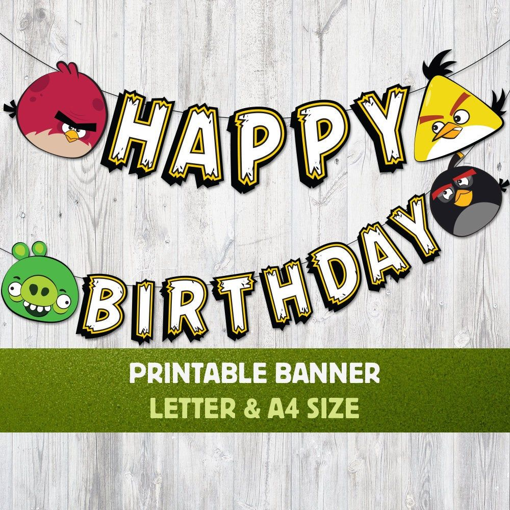 Happy Birthday Angry Birds Inspirated Banner, Happy