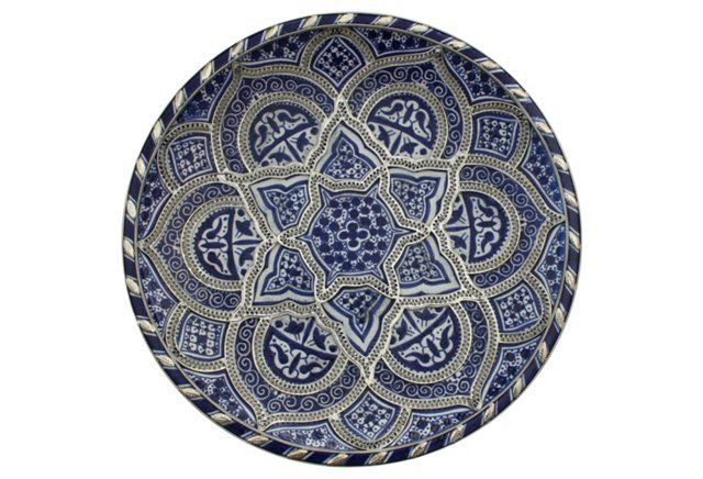 Blue Silver Moroccan Wall Plate With Images Plates On Wall