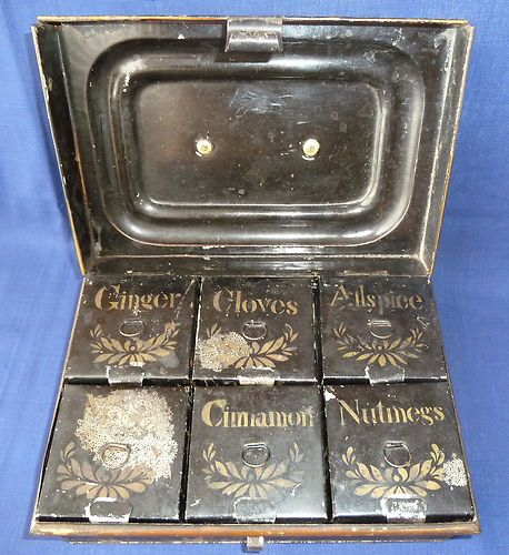 Spice Caddy with 6 Boxes Antique Black Tin with Stenciled Toll Painting Complete