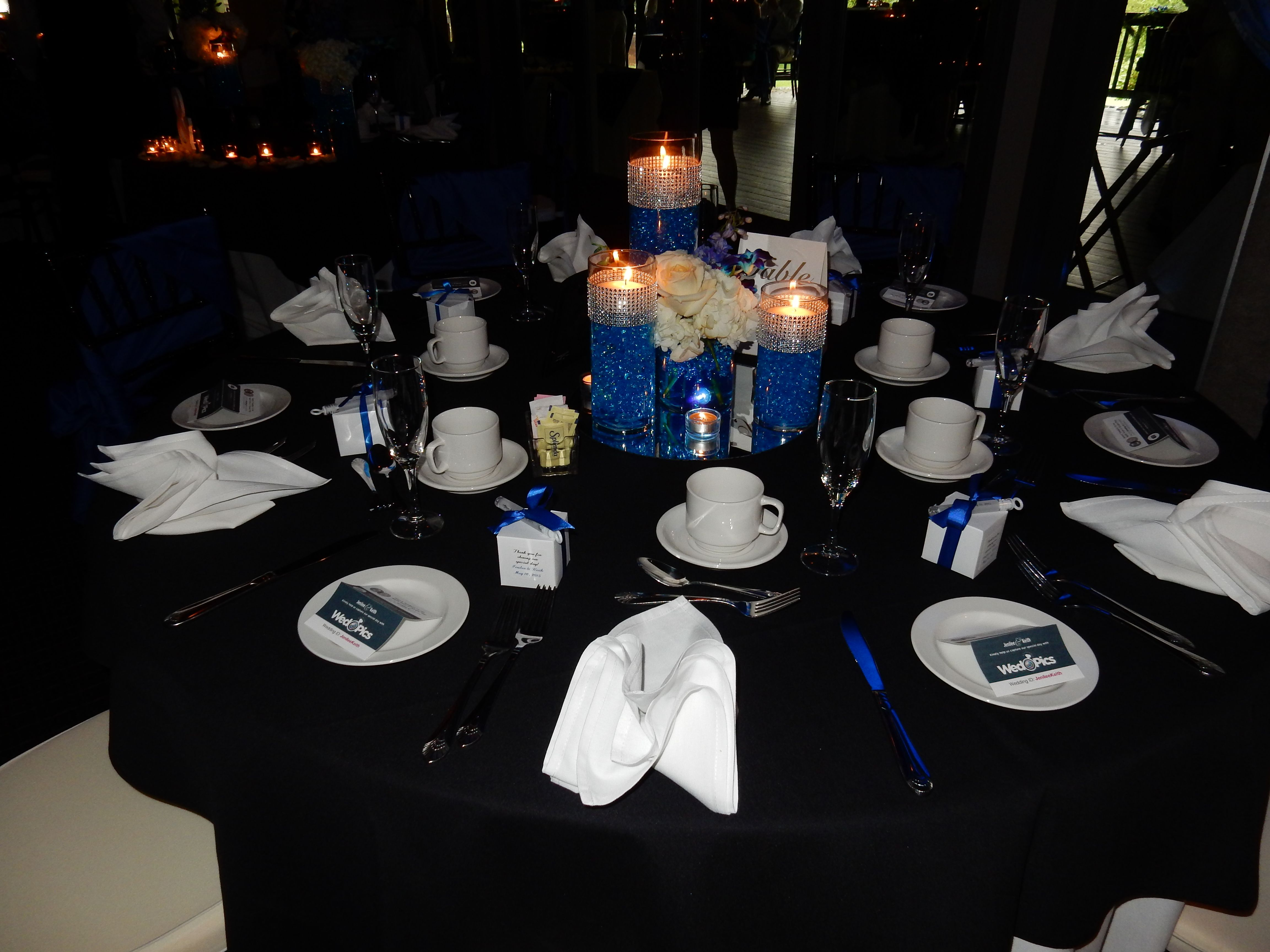 Royal Blue and Black Tablescape at Hidden Creek Country Club