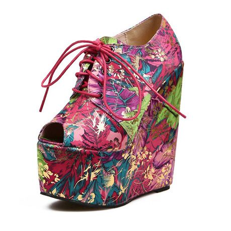 Comfy Retro Wedge Heel Printed Lace Up Shoes - Platforms | RebelsMarket $70.00