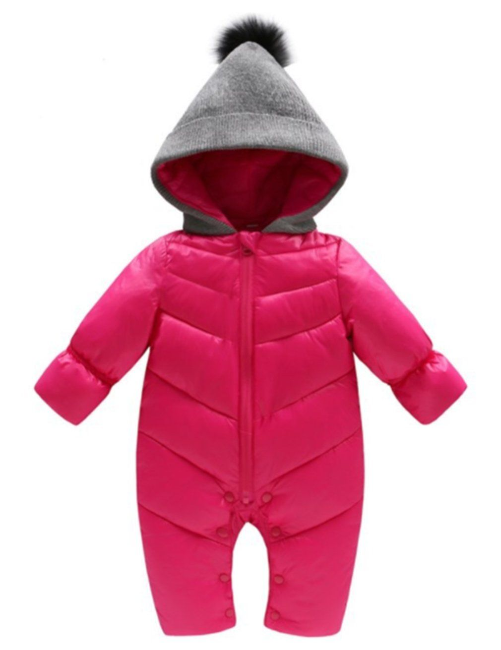 d20c5978263 Toddler Baby Boys Girls Puffer Down Hooded Romper Winter Warm Thick Onesies Jumpsuit  Outfits (6