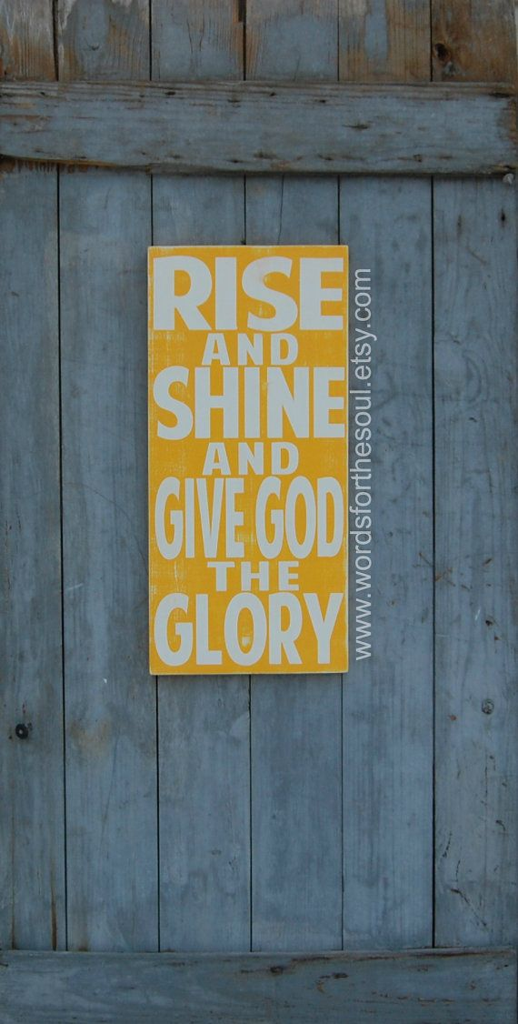 Rise Shine Give God the Glory Christian Sign Typography Scripture Art Kids Room on Etsy, $60.00
