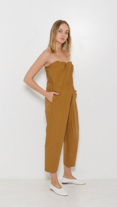 A Detacher Orinoco Playsuit in Caramel Poplin | The Dreslyn