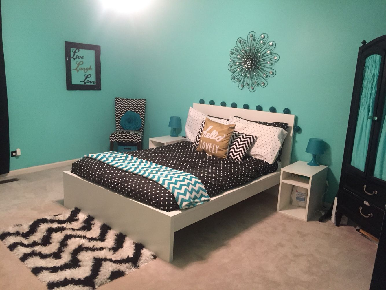 Teal, black, white, and gold teen girl bedroom with chevron ...