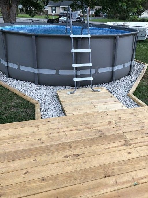 Above Ground Pool Deck Ideas On A Budget Backyards 38 Backyard Pool Landscaping Above Ground Pool Landscaping Pool Patio