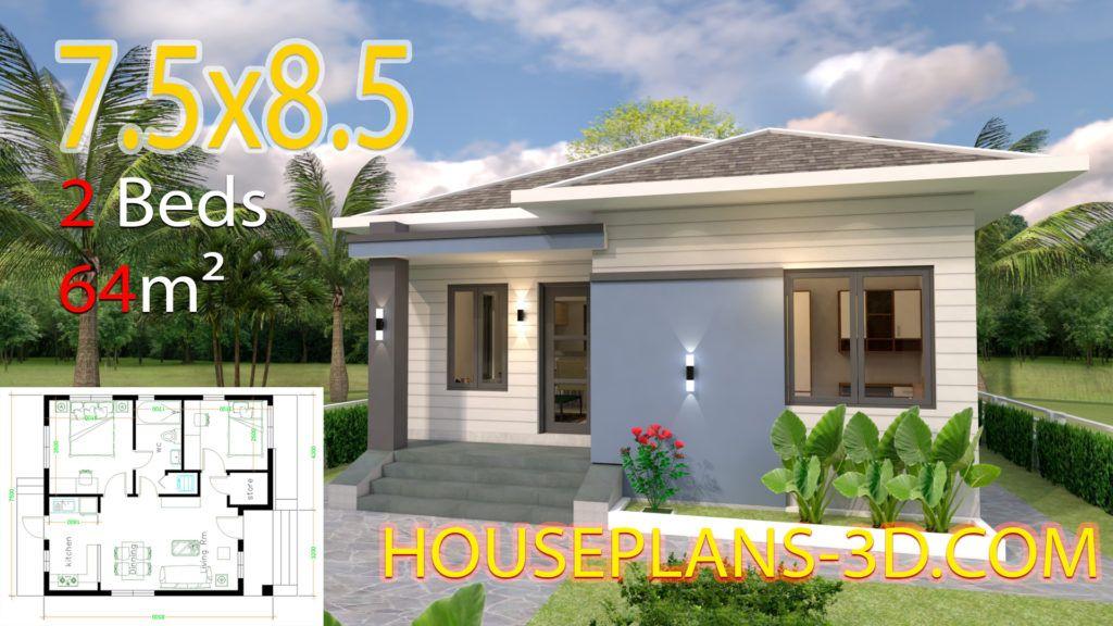 House Design 8x11 With 3 Bedrooms Full Plans House Plans 3d Arsitektur Rumah Pedesaan Desain Arsitektur