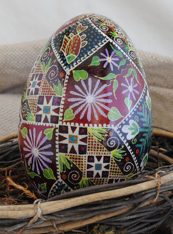Ukrainian Goose Egg: Stars and Asters by BuildingWithColor on Etsy