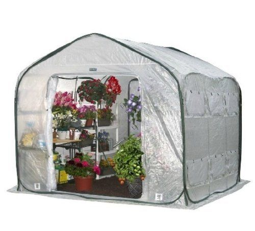 Flower House FHFH700 FarmHouse Walk-In Greenhouse by Flower House. $339.97. Protects your plants and extends your growing season.. Open floor allows greenhouse to be setup over existing trees and bushes.. Promotes and maintains high humidity levels to create a superior growing environment.. Quick and Easy Set up on Soil or Hard Surfaces in minutes. This portable, pop up greenhouse is perfect for extending your growing season and protecting your plants.The Unique Flowerhou...