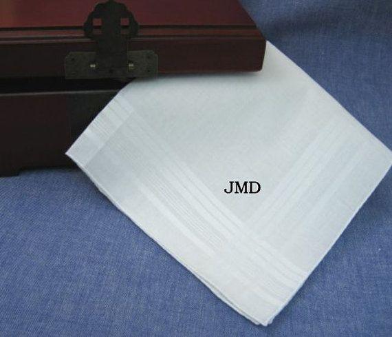 Handkerchief Mens Embroidery Monogram Anniversary gift, wedding groom  Husband Usher by