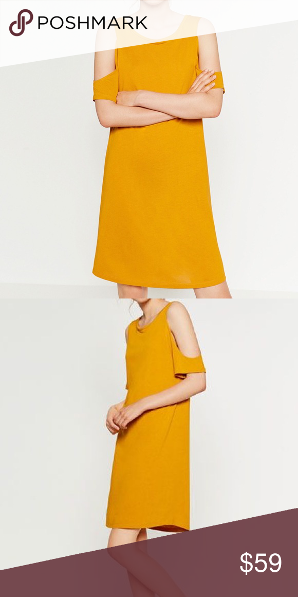 0e34d8ab ZARA Mustard Open Shoulder Dress Dress up or down! :) Brand new with tags,  never worn. Round neck, short sleeves with opening. Cut out shoulders.