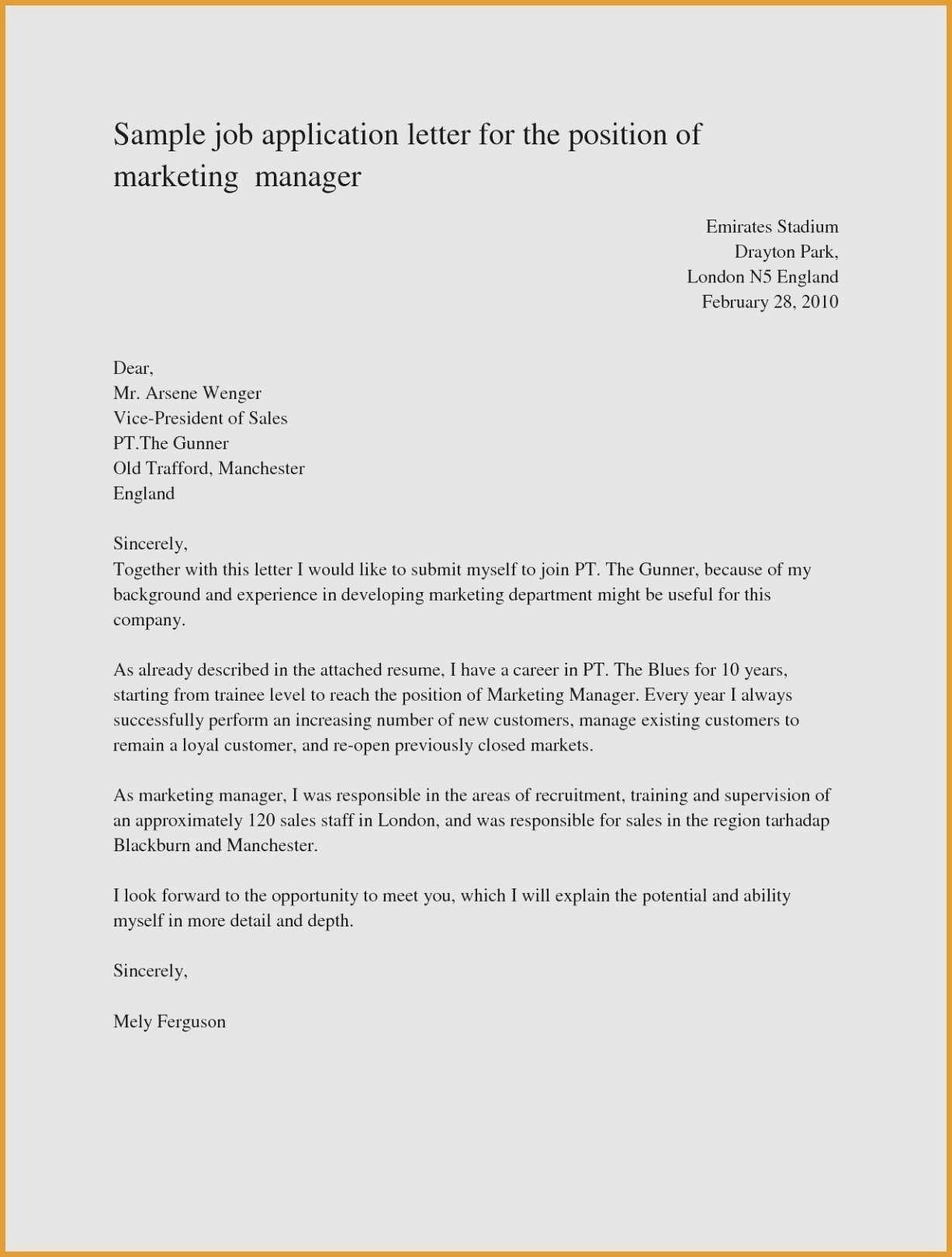Example Resume Letter For Job Application