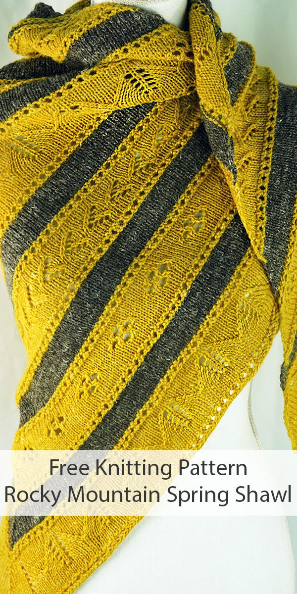 Photo of Free Knitting Pattern for Rocky Mountain Spring Shawl in DK Weight Yarn