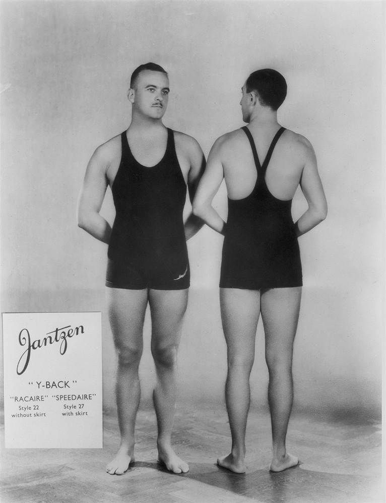 eb1a60fef6 Male models in 'Y-Back' swimsuits by Jantzen. Men's chests were still