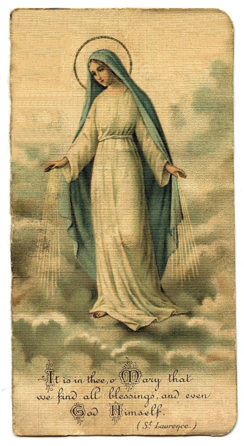 Free Vintage Clip Art - Mary Holy Card | Pray for us, Vintage holy ...