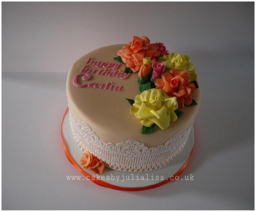 Roses Lace Birthday Cake Cake By Cakes By Julia Lisa Cakes By
