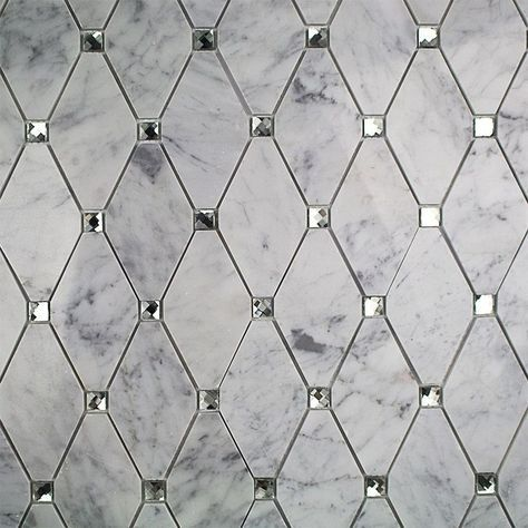 white diamond tile with marble antique mirror accents - Google ...