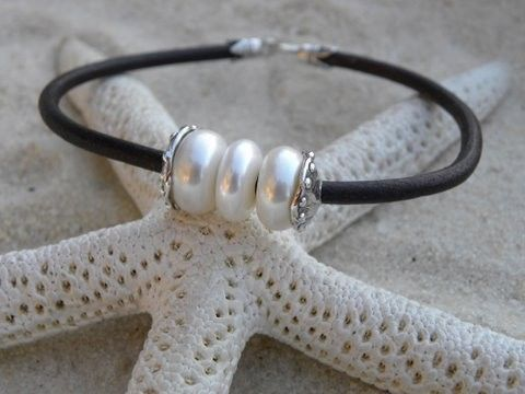 Pearls, Artisan Silver and Chocolate Leather Bracelet via Etsy