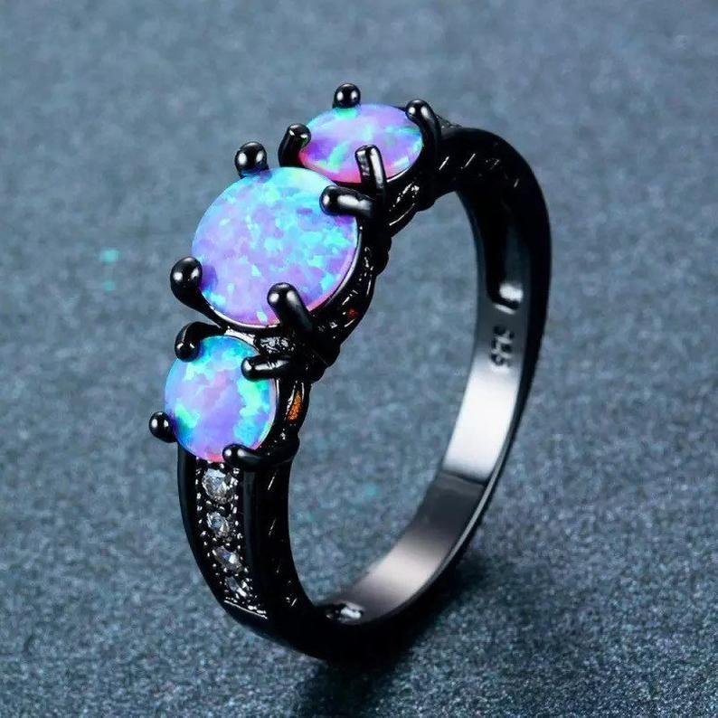 Blue fire opal black gold filled ring in 2020 titanium
