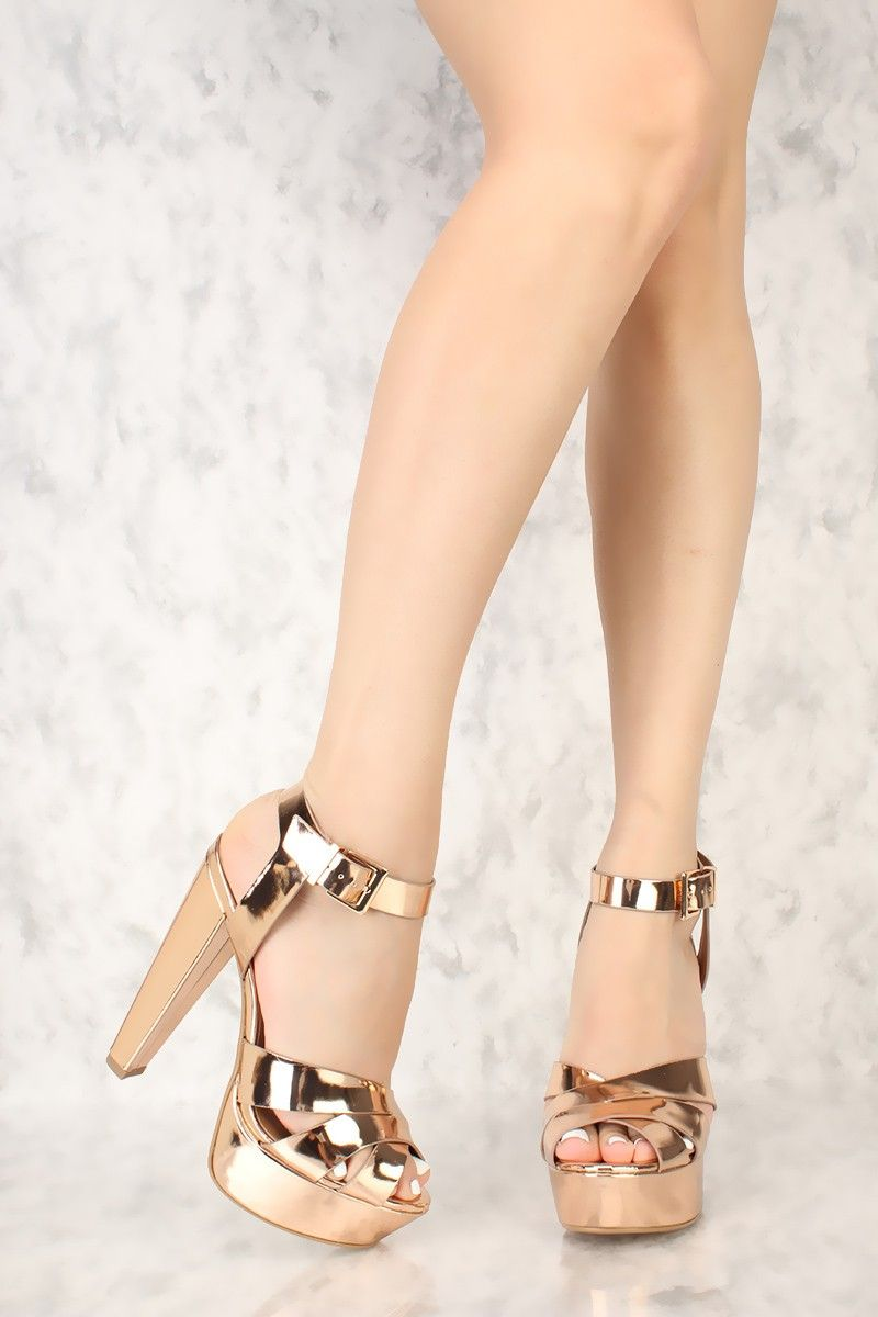 1a3105ea625 Rose Gold Strappy Criss Cross Peep Toe Chunky High Heels Patent Faux Leather