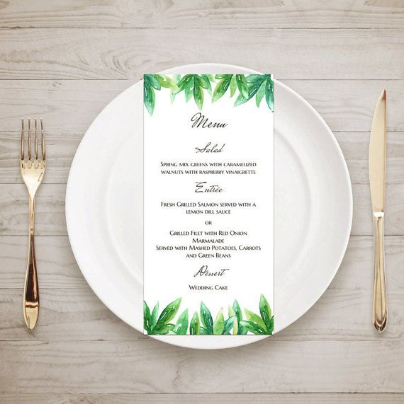 Greenery Wedding Menu Template Green Wedding By Cardsforwedding