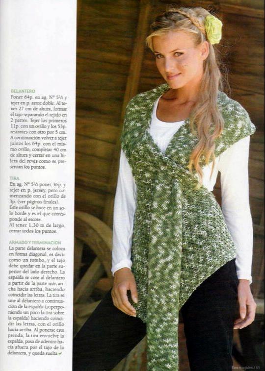 Patrones Crochet  Chaleco Tejido Irregular en Degrade  68b16faf569e