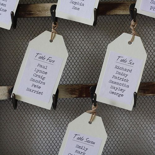 vintage table plan with photos and hooks by The Wedding of my dreams, via Flickr