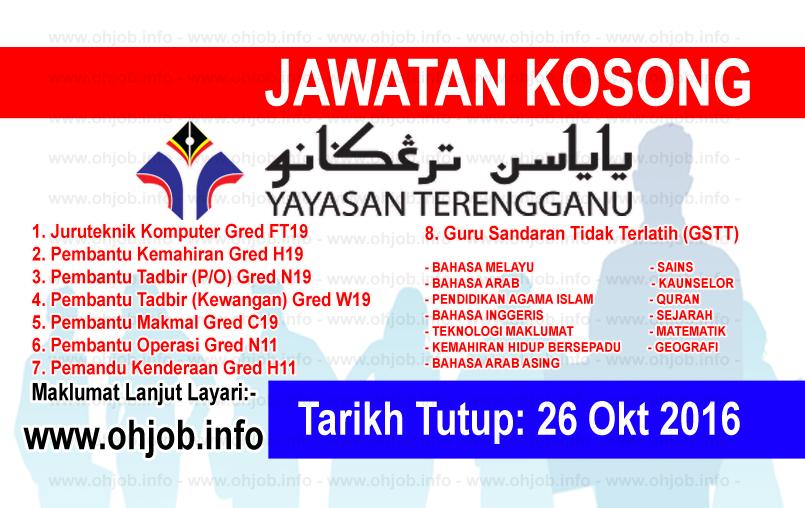 Jawatan Kosong Yayasan Terengganu Yt 26 Oktober 2016
