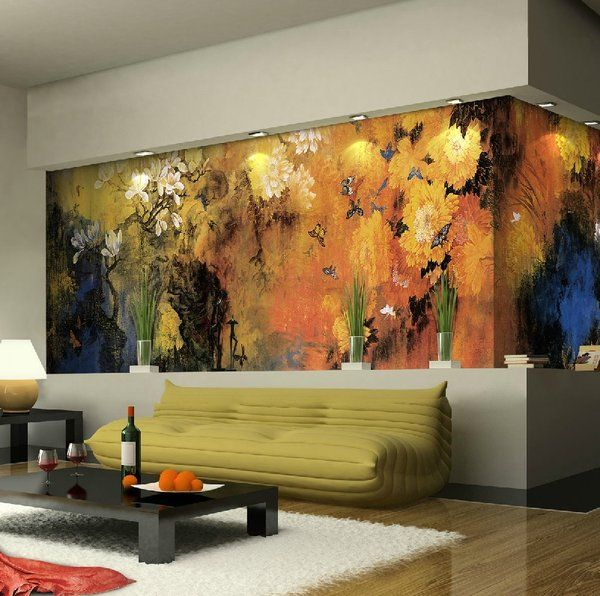 Lovely Green White Nature Inspired Living Room With Interior Wall Mural