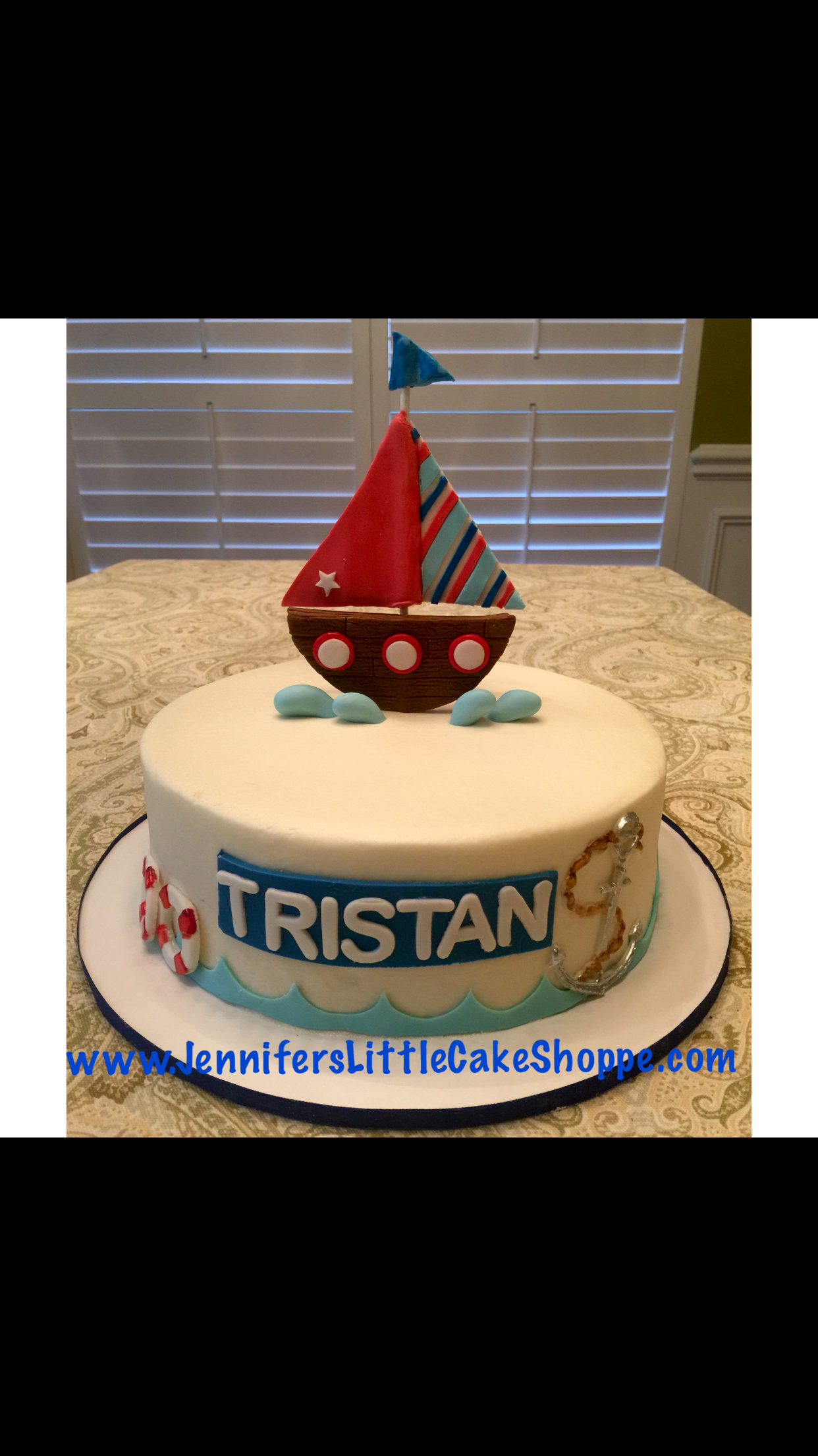 Nautical Baby Shower Cake In Buttercream Icing With Fondant Boat