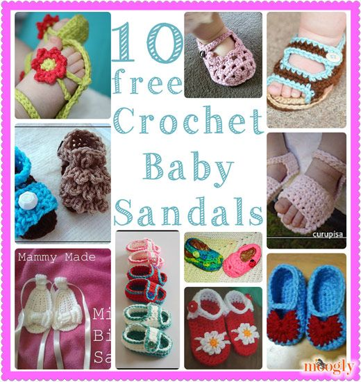 Crochet Baby Sandals - 10 Free Patterns on moogly! | Bebe, Tejido y ...