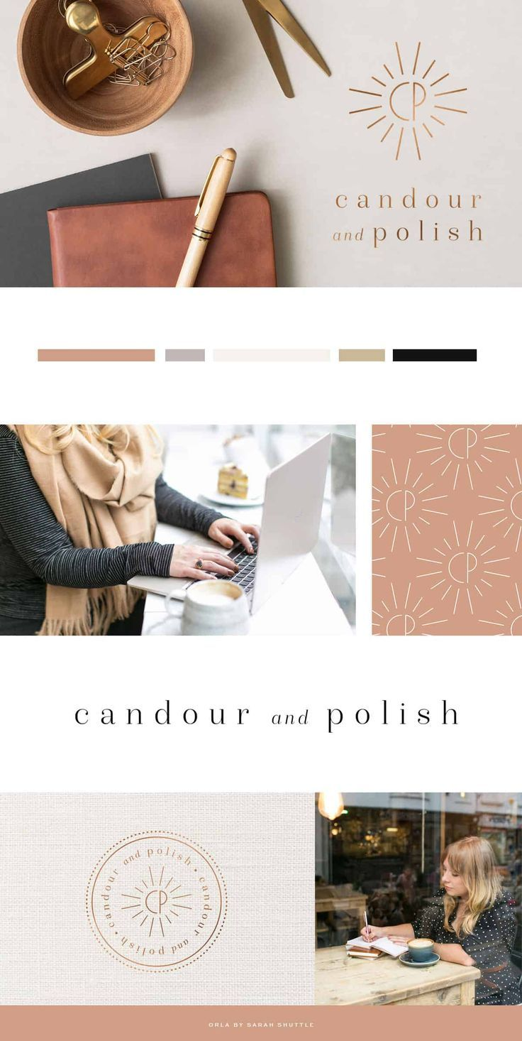 Logo and Brand Design for Copywriting Business Candour & Polish is part of Personal branding design, Fashion logo inspiration, Style guide design, Fashion logo design, Fashion logo design inspiration, Logo design inspiration - Logo and brand design for the visual identity of copywriting business Candour & Polish, run by Ceri Olofson  Warm, earthy tones and textures